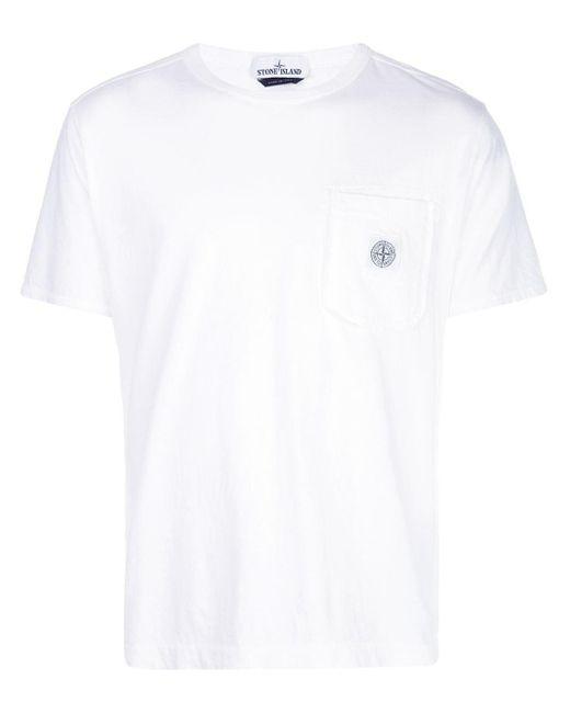 メンズ Stone Island チェストポケット Tシャツ White