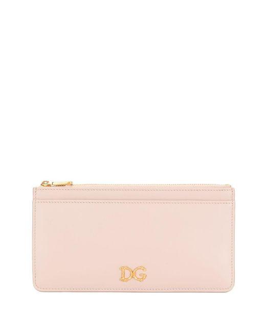 Portacarte con applicazione di Dolce & Gabbana in Pink