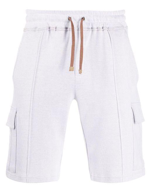 Eleventy White Drawstring Cargo Shorts for men