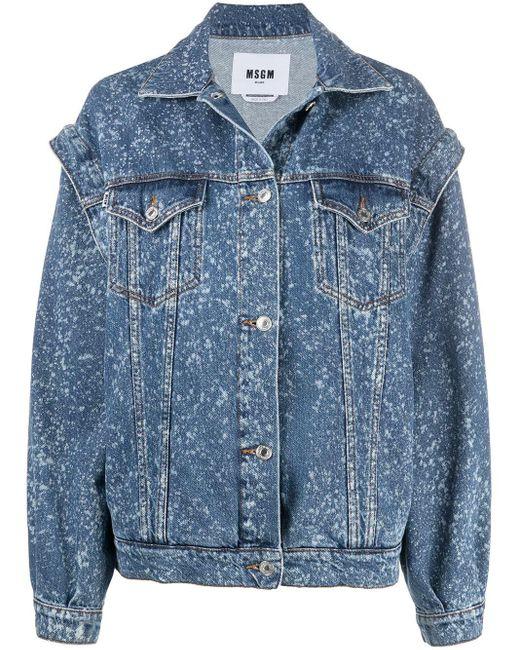 MSGM Blue Paint-splatter Print Denim Jacket