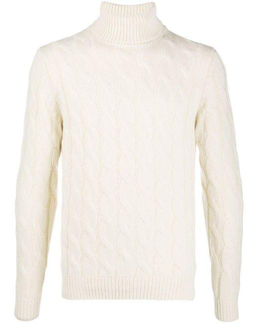 メンズ Lardini ケーブルニット セーター White