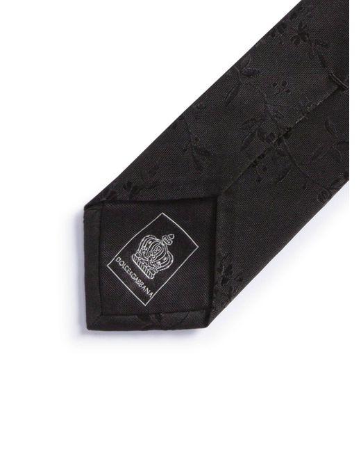 メンズ Dolce & Gabbana フローラルジャカード ネクタイ Black