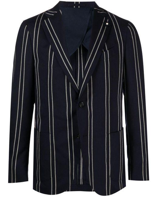Однобортный Пиджак В Полоску Lardini для него, цвет: Blue