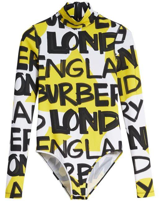 Body con estampado de grafiti Burberry de color Yellow