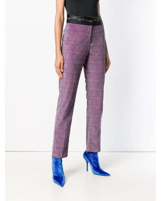 High-waist checked trousers MSGM en coloris Pink