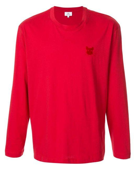 メンズ Calvin Klein プリント ロングtシャツ Red