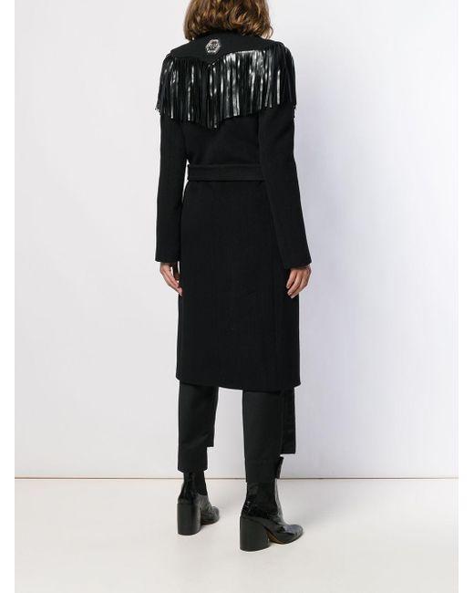 Manteau frangé à ornements Philipp Plein en coloris Black