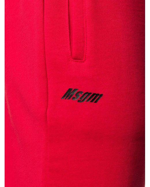 メンズ MSGM ロゴ トラックパンツ Red