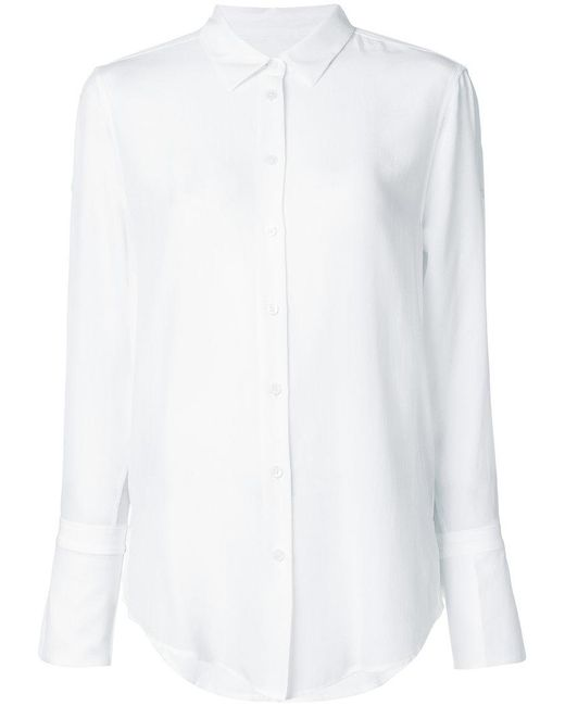 Equipment - White Flared Cuff Shirt - Lyst