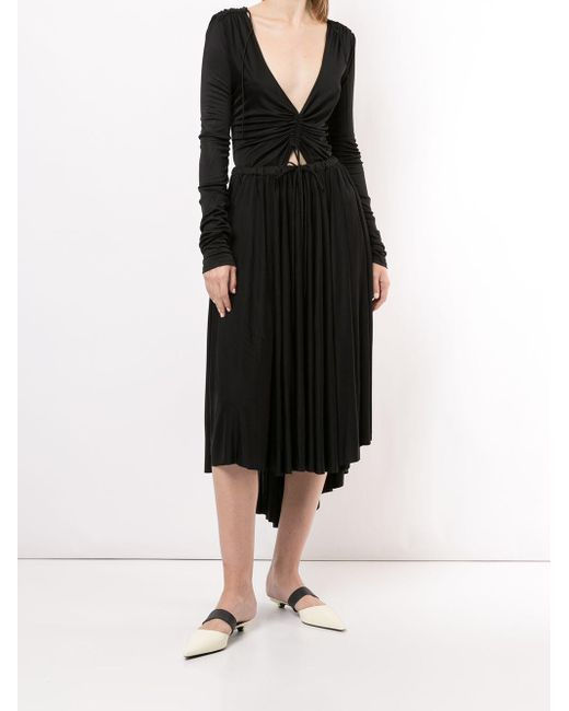 PROENZA SCHOULER WHITE LABEL Vネック ドレス Black