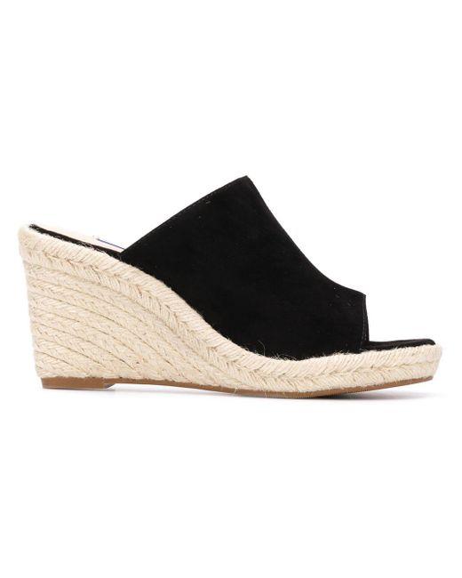 Stuart Weitzman Black Marbella Suede Wedge Sandals