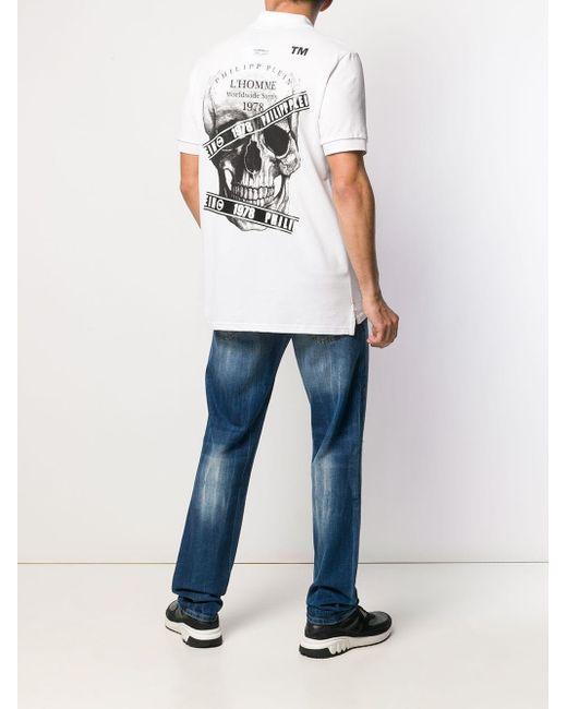Polo con stampa di Philipp Plein in White da Uomo