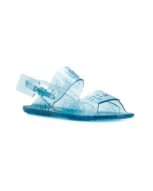 88e8cf4173e ... Off-White c o Virgil Abloh - Blue Transparent Logo Sandals - Lyst ...
