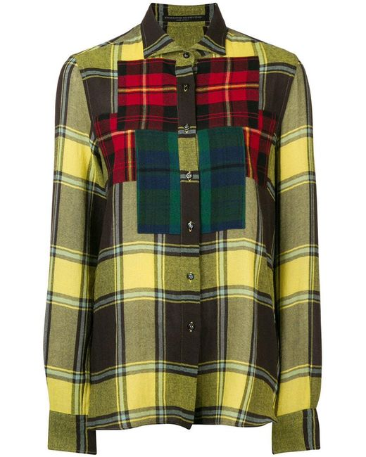 Ermanno Scervino - Yellow Colourblock Plaid Shirt - Lyst