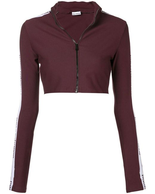 Paco Rabanne - Pink Logo Side Stripe Cropped Track Top - Lyst