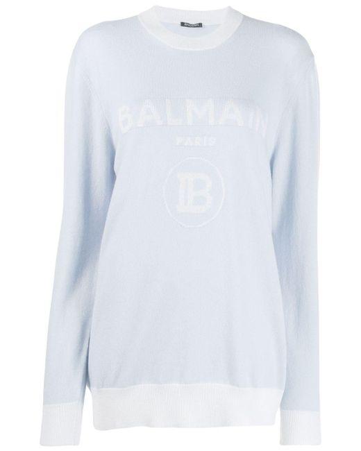 Balmain インターシャロゴ セーター Blue