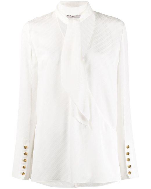 Givenchy ストライプ ボウタイブラウス White
