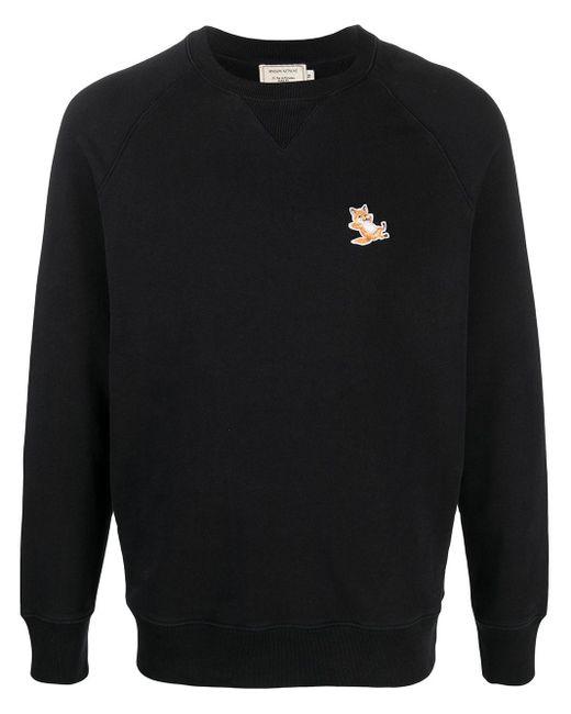 Maison Kitsuné Black Embroidered Logo Sweatshirt