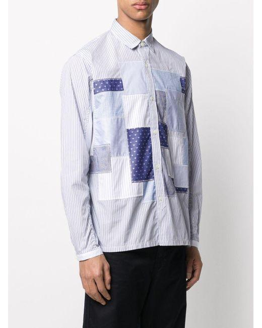 メンズ Junya Watanabe パッチワーク ストライプシャツ Multicolor