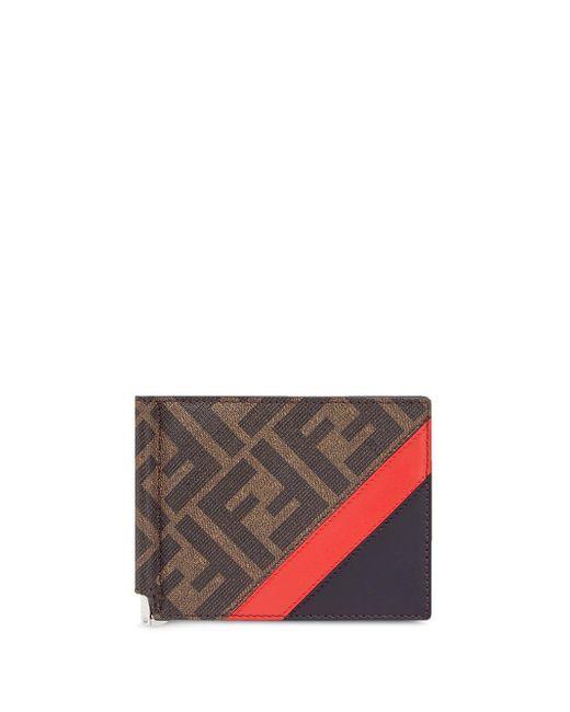 メンズ Fendi モノグラム 二つ折り財布 Brown