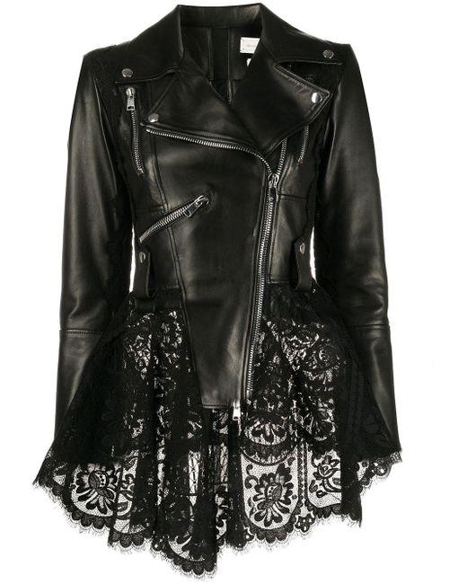 Alexander McQueen ペプラム ライダースジャケット Black