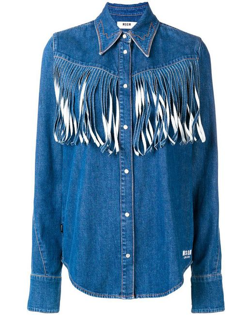 MSGM - Blue Denim Fringed Shirt - Lyst