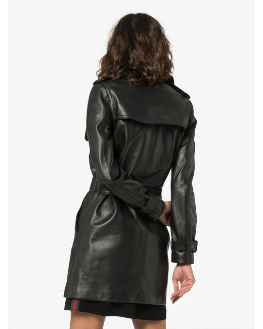 39ccd1dfcfa ... Saint Laurent - Black Double Breasted Trench Coat - Lyst