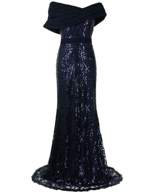 Tadashi Shoji Blue Chiaki Textured Crepe Gown