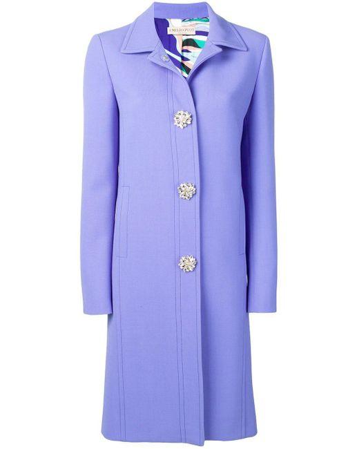 Emilio Pucci ブローチボタン コート Blue