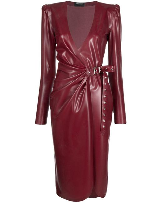 Платье С Запахом Saint Laurent, цвет: Red