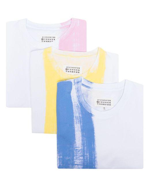 Maison Margiela Blue 3-pack Paint Print T-shirt Set for men
