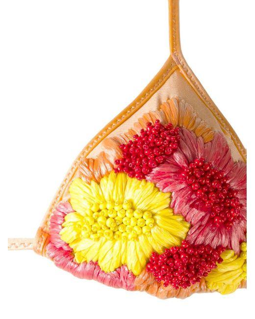 Amir Slama フローラル装飾 ビキニ Yellow
