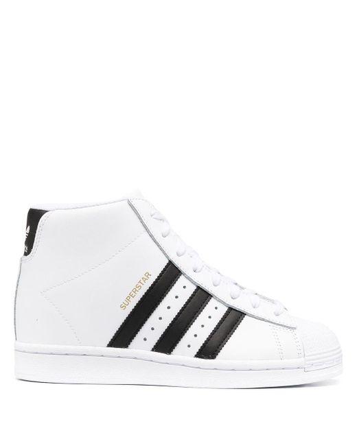 Baskets montantes Superstar Up Cuir adidas en coloris Blanc - Lyst