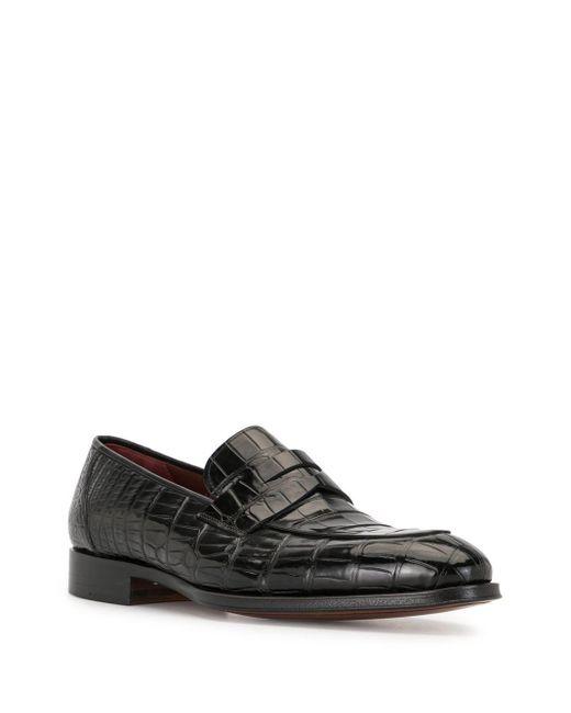 メンズ Magnanni Shoes クロコレザー ローファー Black