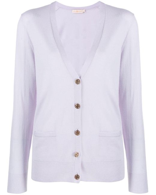 Tory Burch Purple Relaxed-fit Cardigan