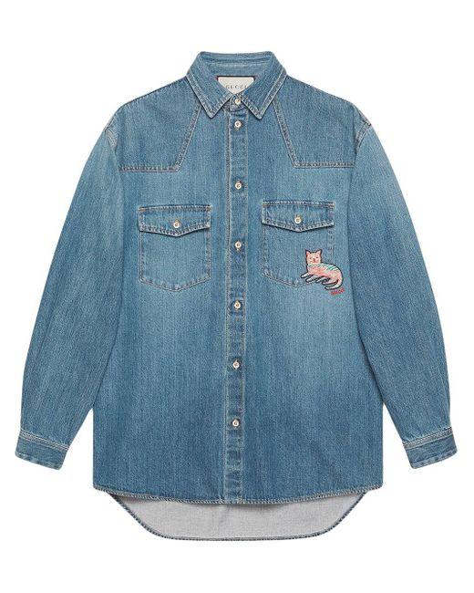 メンズ Gucci グッチキャット付き エコ ウォッシュド オーガニックデニム シャツ Blue