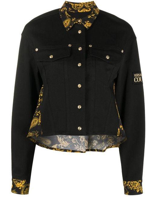 Versace Jeans Black Barocco Paisley Print Denim Jacket