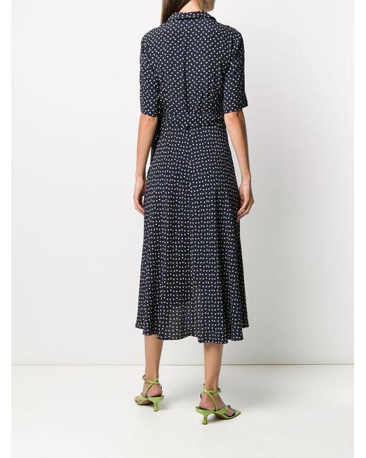 Ganni ハートプリント ラップドレス Blue