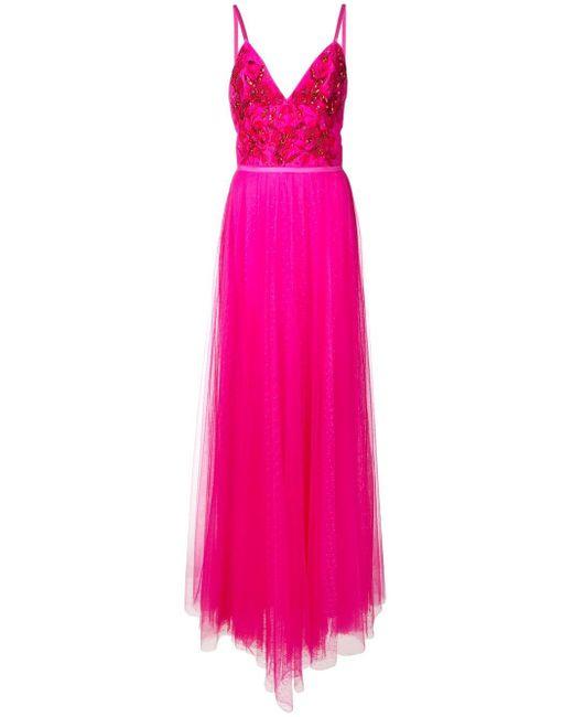 Robe longue à fleurs brodées Marchesa notte en coloris Pink