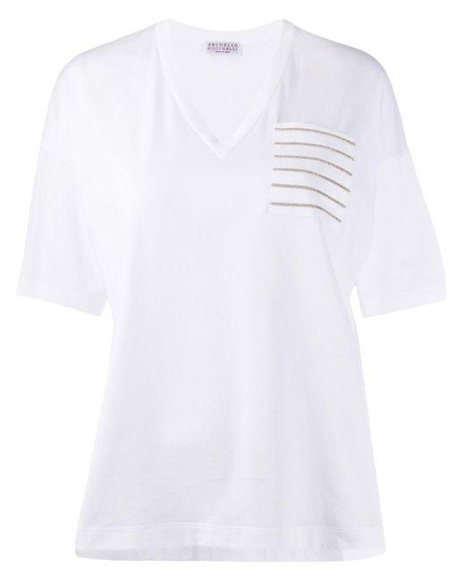 Футболка С Бисером На Кармане Brunello Cucinelli, цвет: White