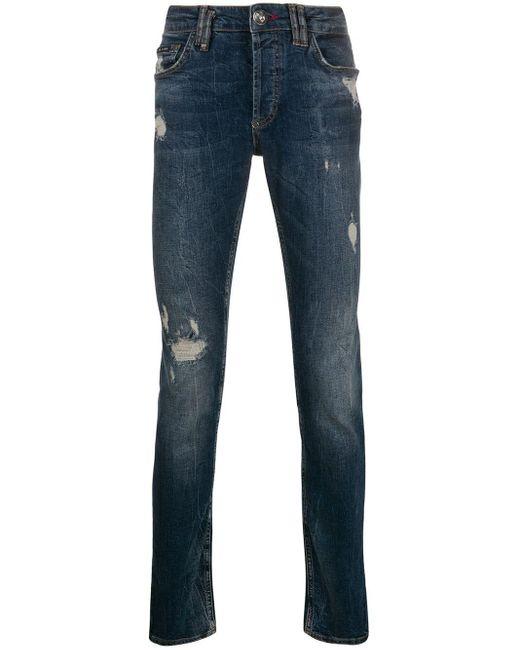 Philipp Plein Blue Super Straight Cut Jeans for men