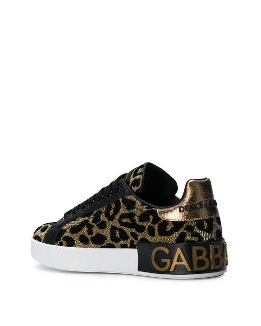 Кроссовки С Леопардовым Принтом Dolce & Gabbana, цвет: Metallic