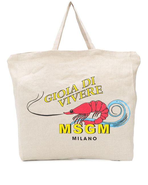 メンズ MSGM プリント トートバッグ Multicolor