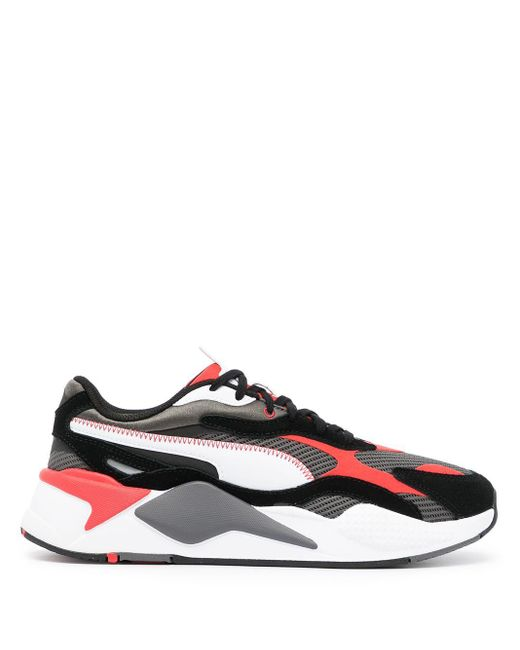 PUMA Leather Rs-x3 Twill Air Mesh Sneakers in Black for Men - Lyst
