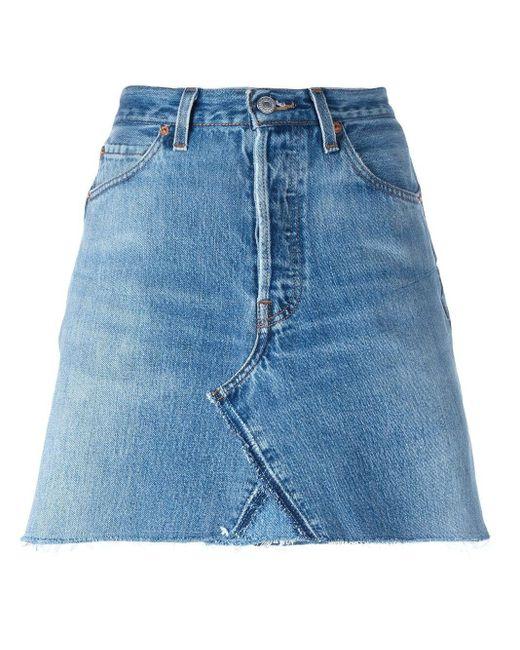 Re/done Blue Denim Skirt