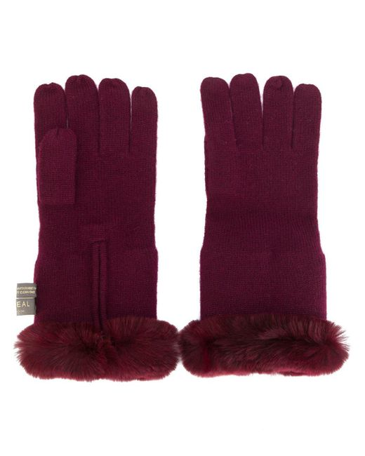 N.Peal Cashmere - Red Fur-trim Gloves - Lyst