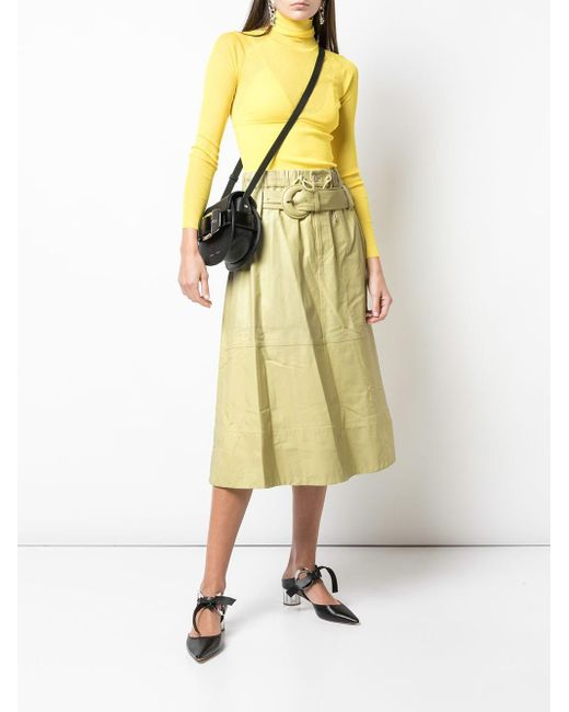 PROENZA SCHOULER WHITE LABEL ベルテッド ミディスカート Yellow