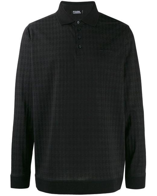 メンズ Karl Lagerfeld ロングスリーブ ポロシャツ Black