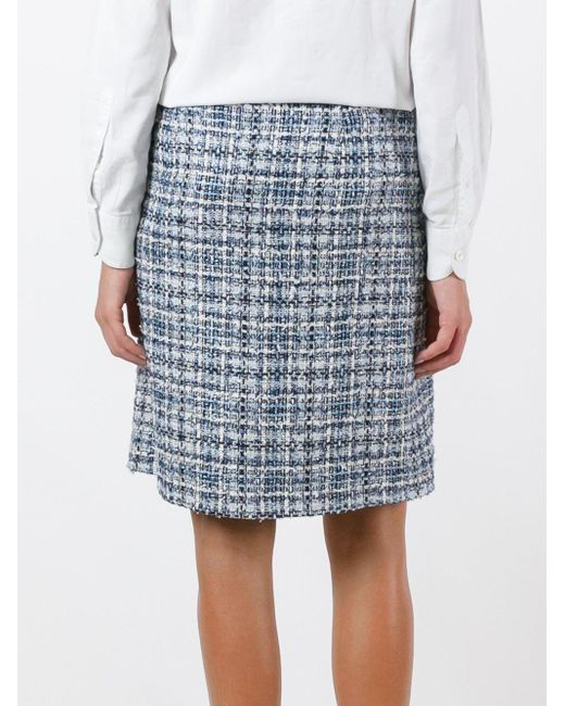 Lanvin チェック柄ツイードスカート Blue