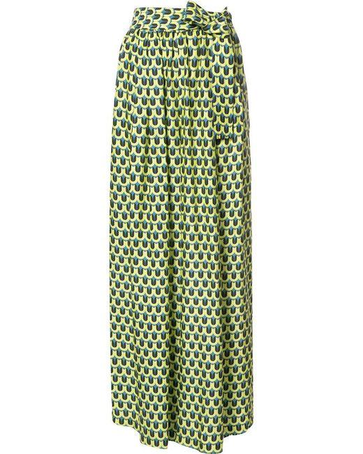 TOME   Green Geometric Print 'karate' Trousers   Lyst